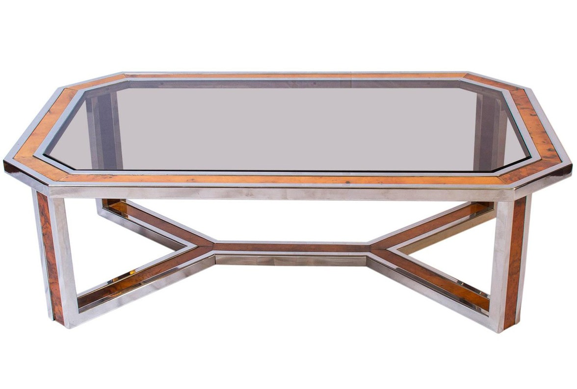 chrome and wood coffee table 19