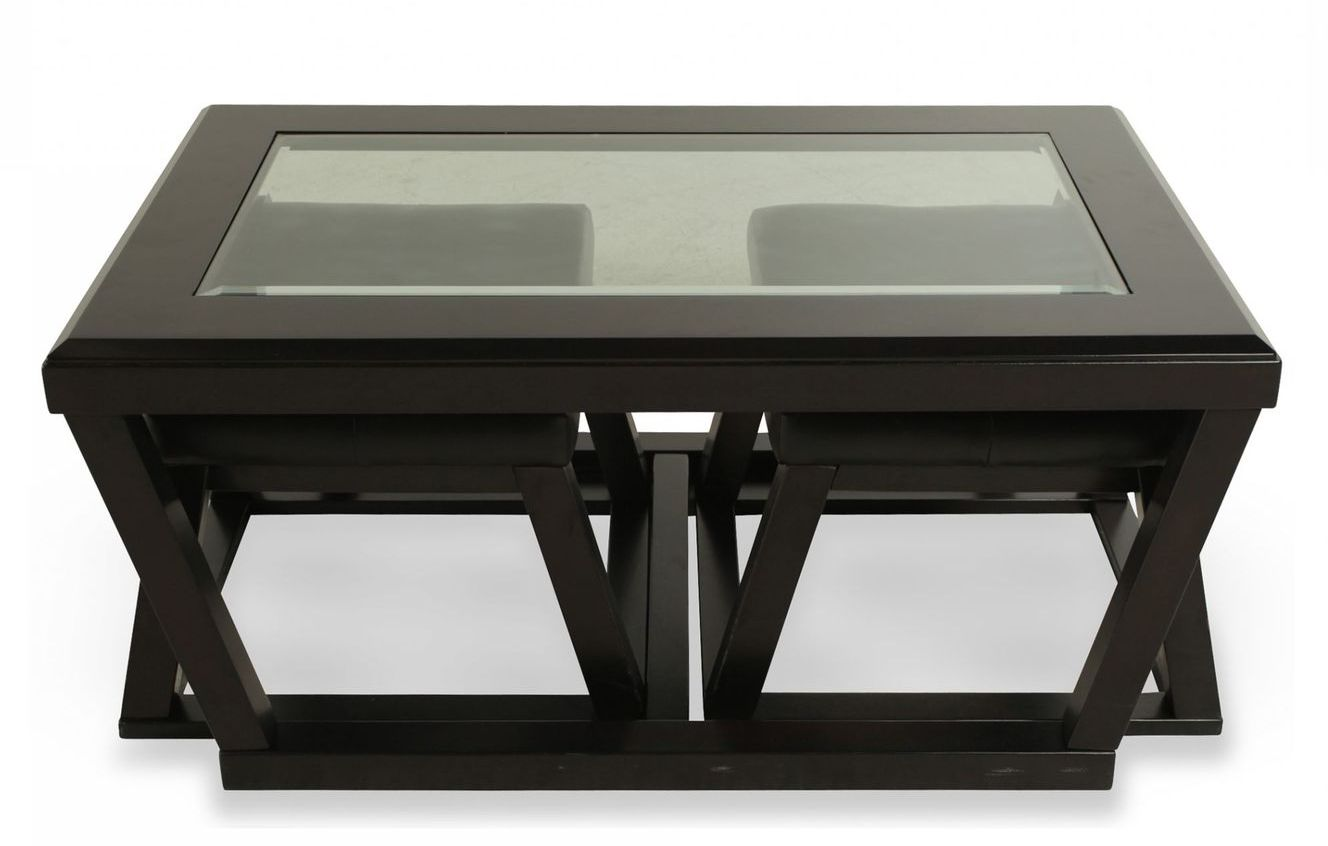 coffee table with pull out ottomans 05