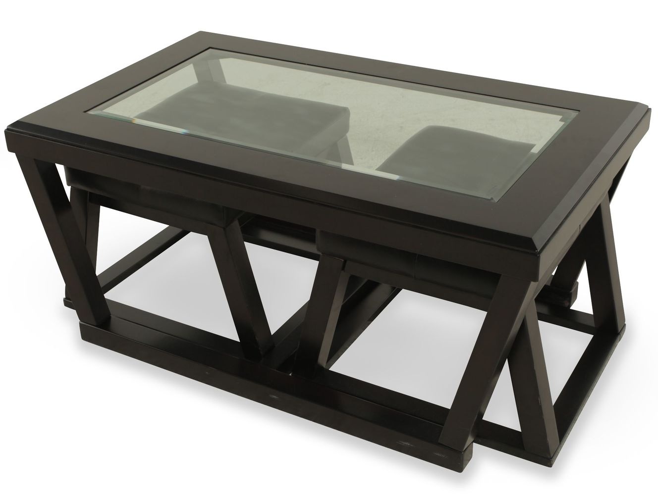 coffee table with pull out ottomans 08