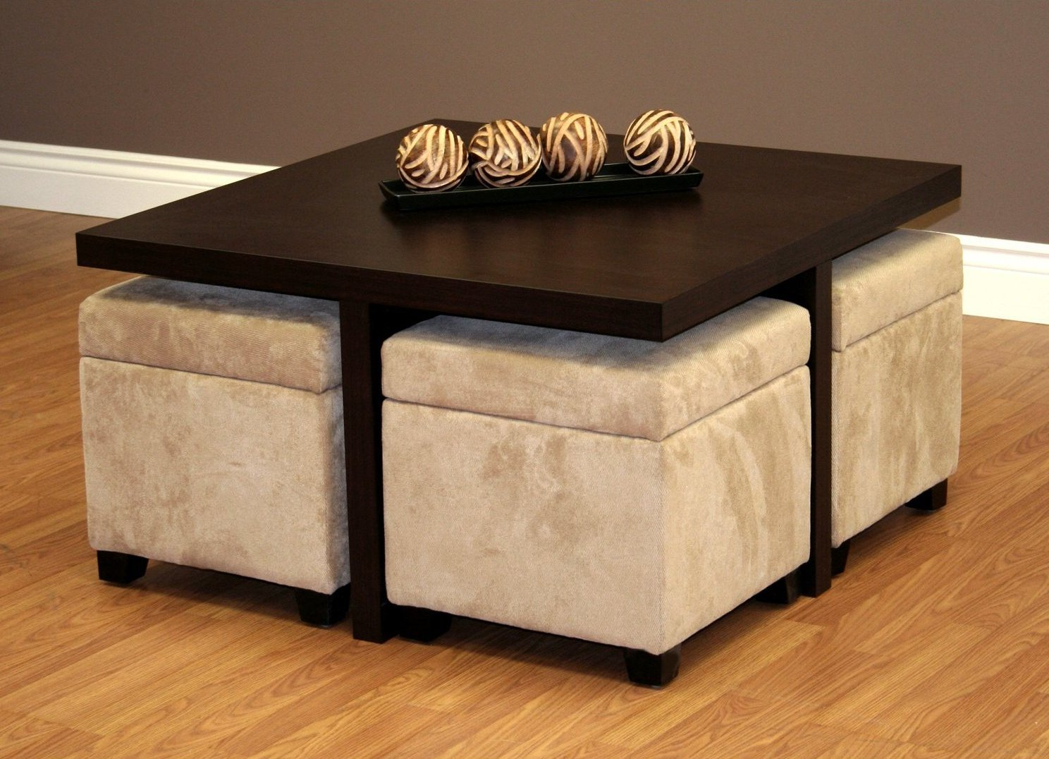 coffee table with pull out ottomans 10