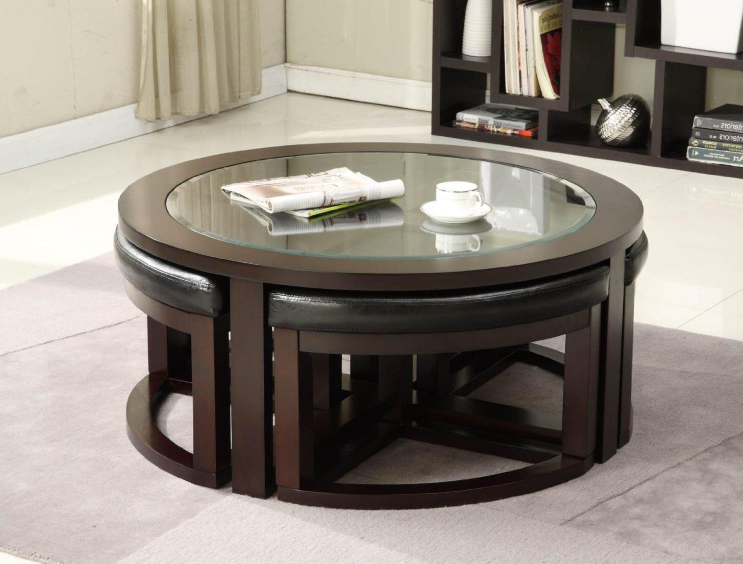 coffee table with pull out ottomans 12