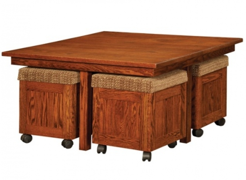 coffee table with pull out ottomans 14
