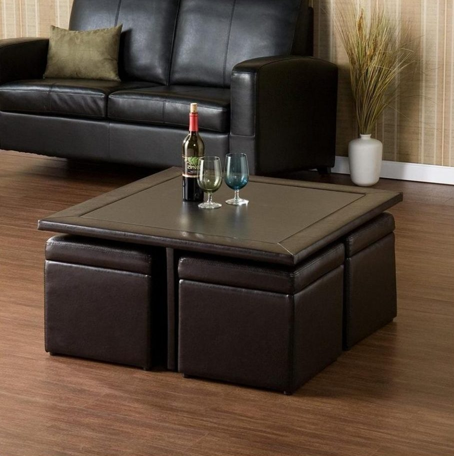 coffee table with pull out ottomans 15