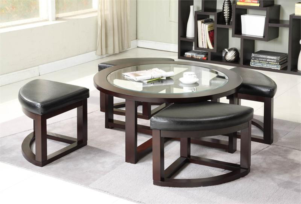 coffee table with pull out ottomans roy home design Dining Room Tables Glass Top living room accent snack table with glass top