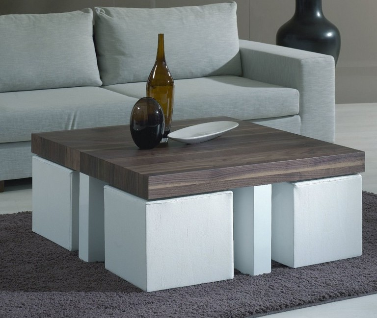 coffee table with pull out ottomans 17