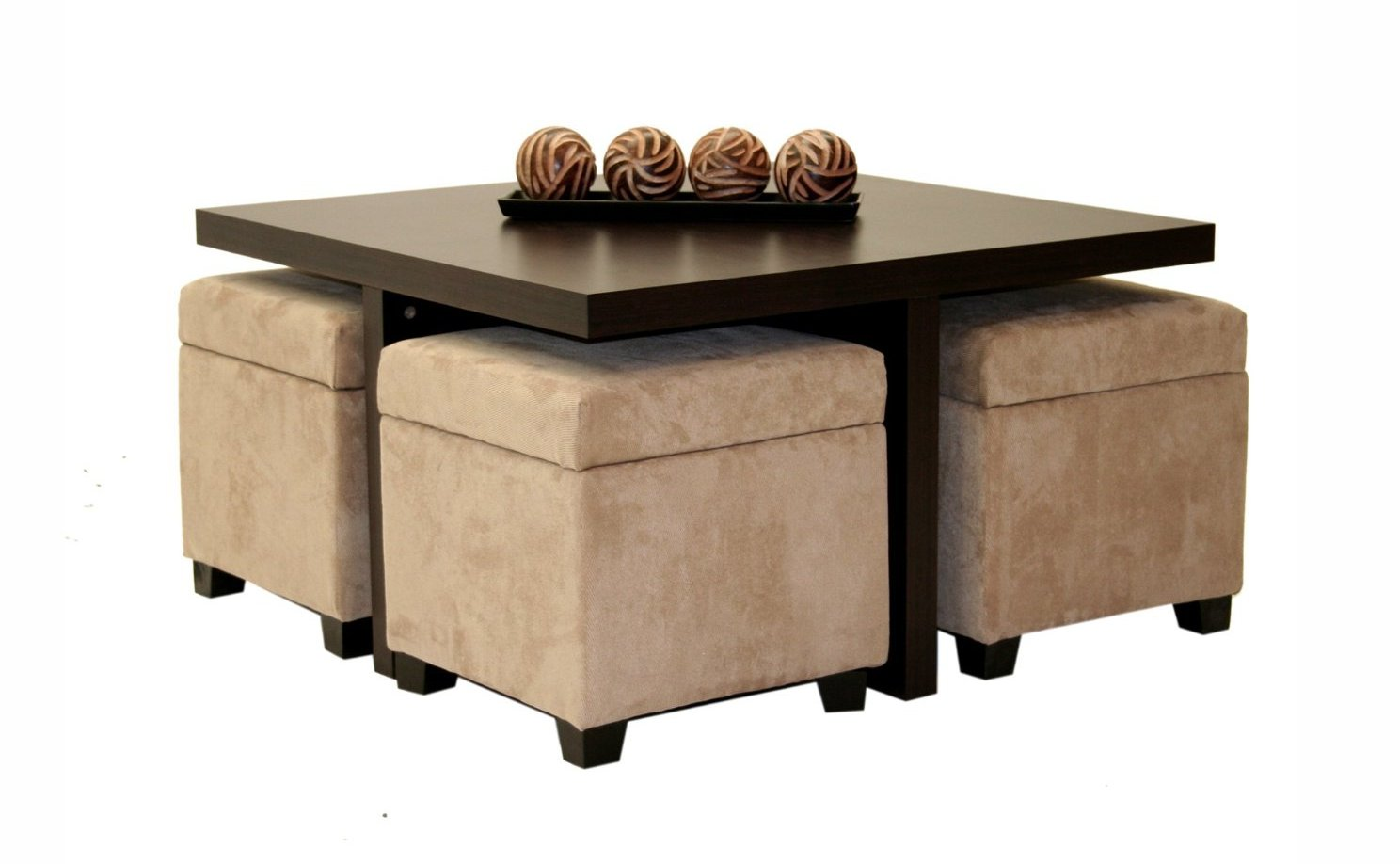 coffee table with pull out ottomans 20