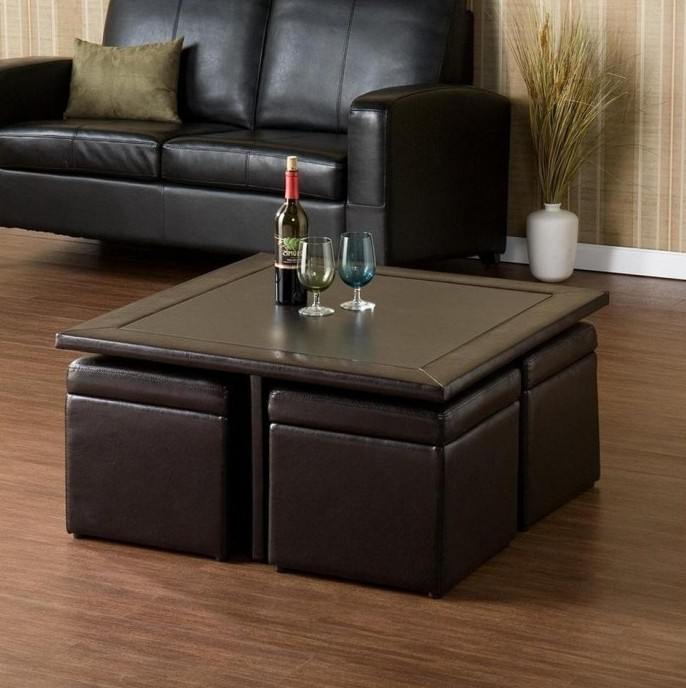 cushion coffee table with storage 04 Leather Coffee Table With Storage And Trays