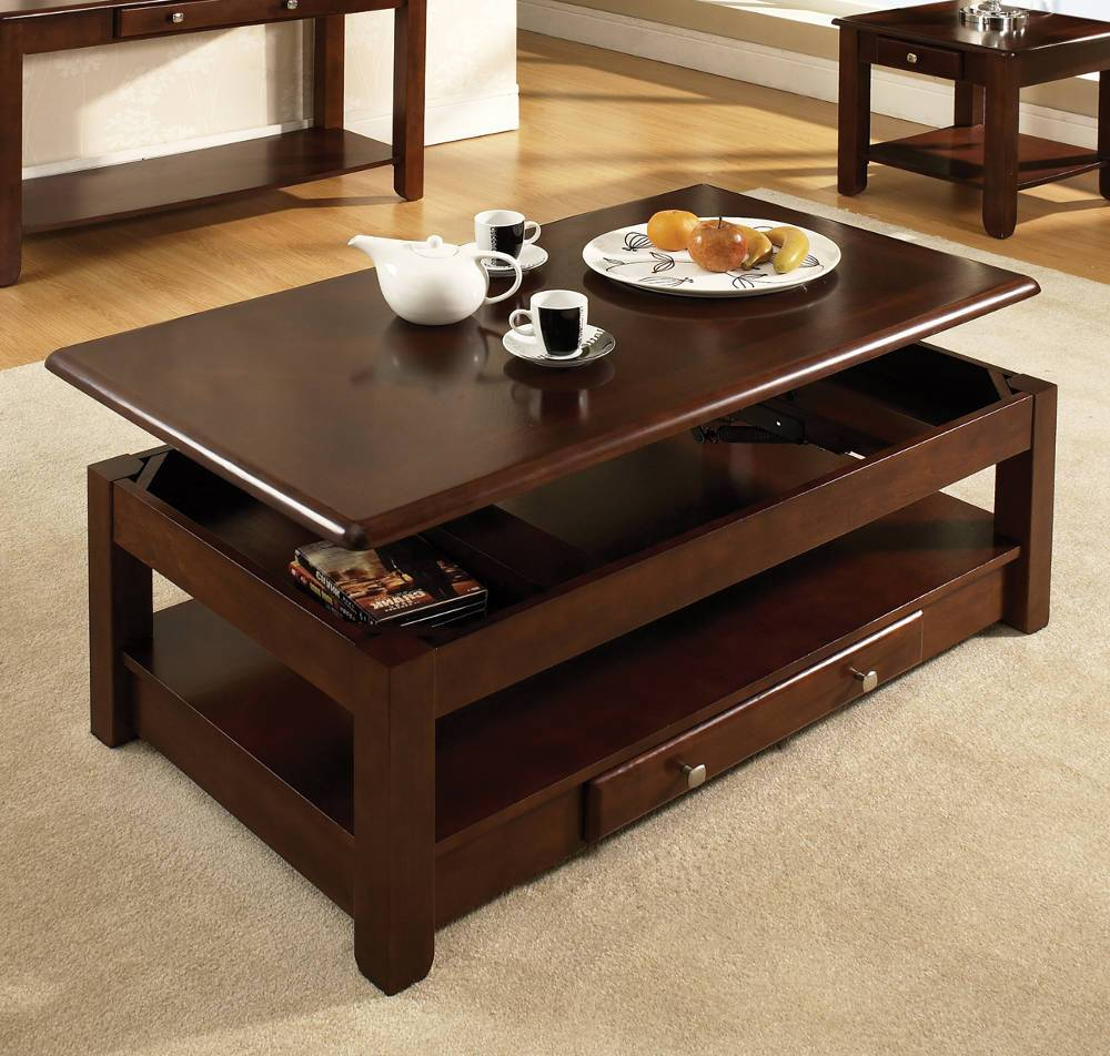 dark wood coffee table set 18
