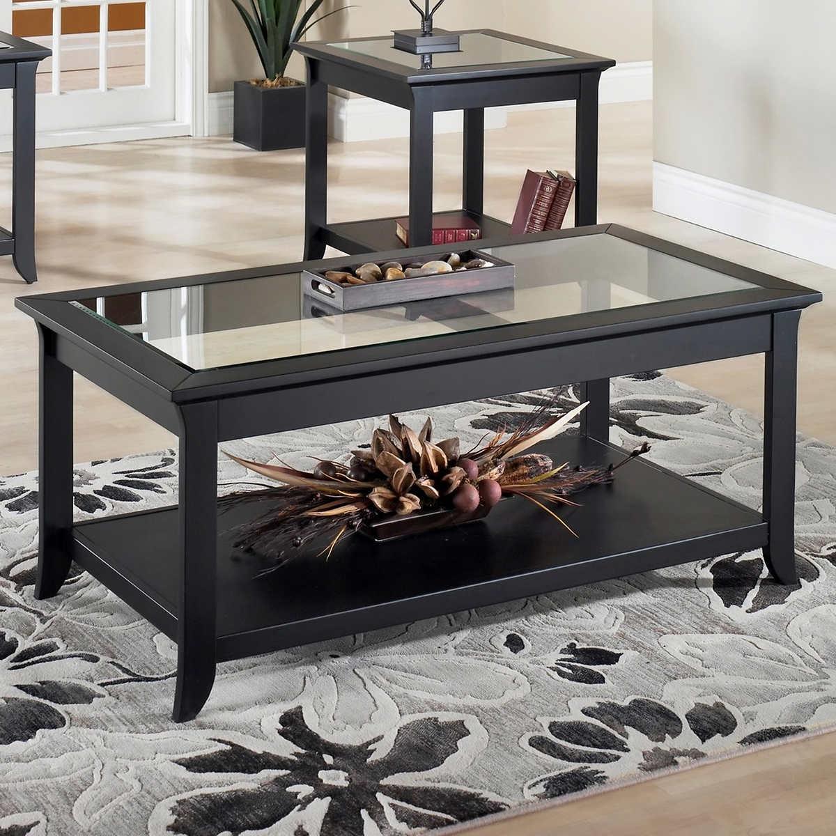 dark wood coffee table set 02