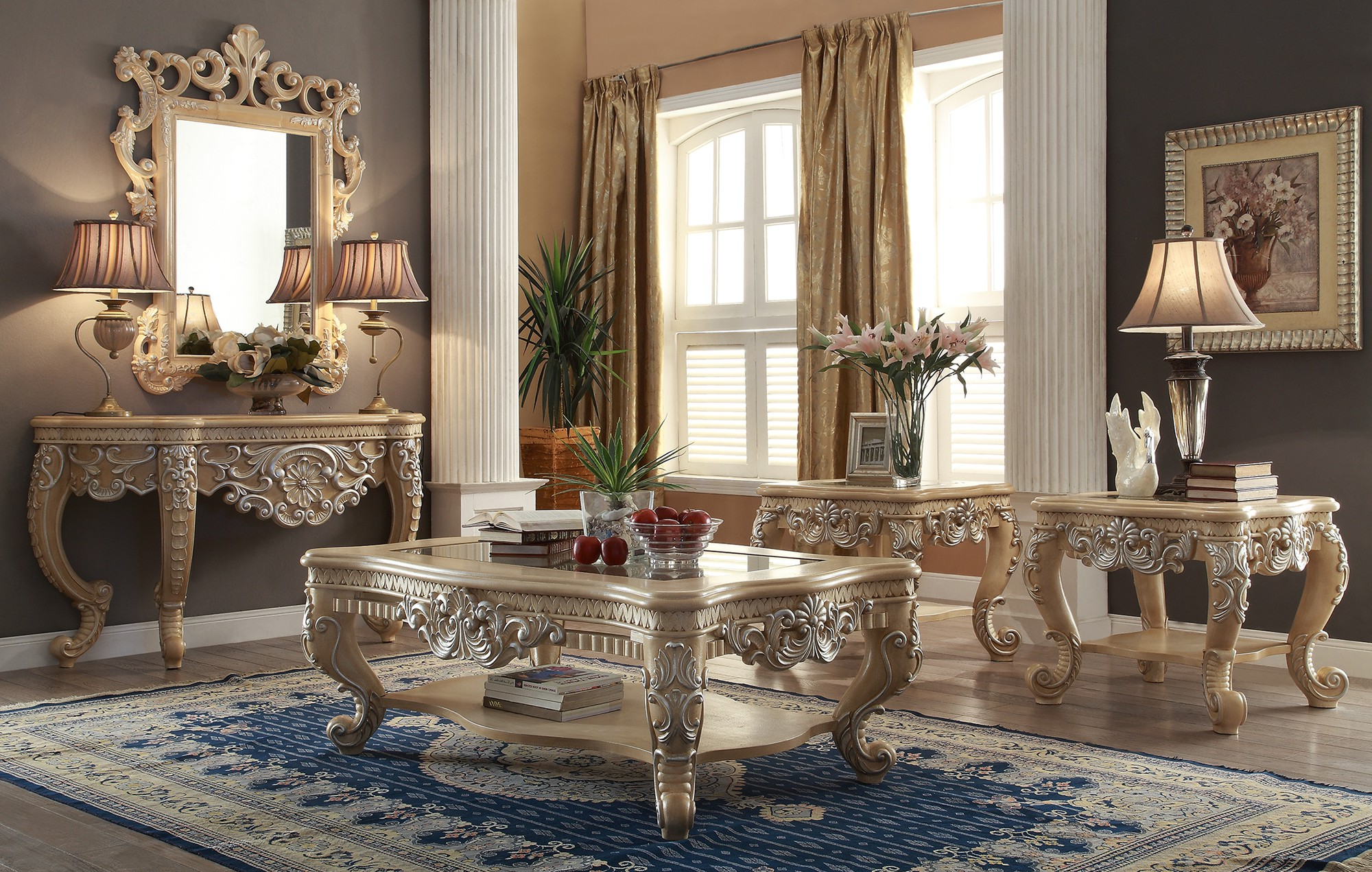 mirrored coffee table set 03
