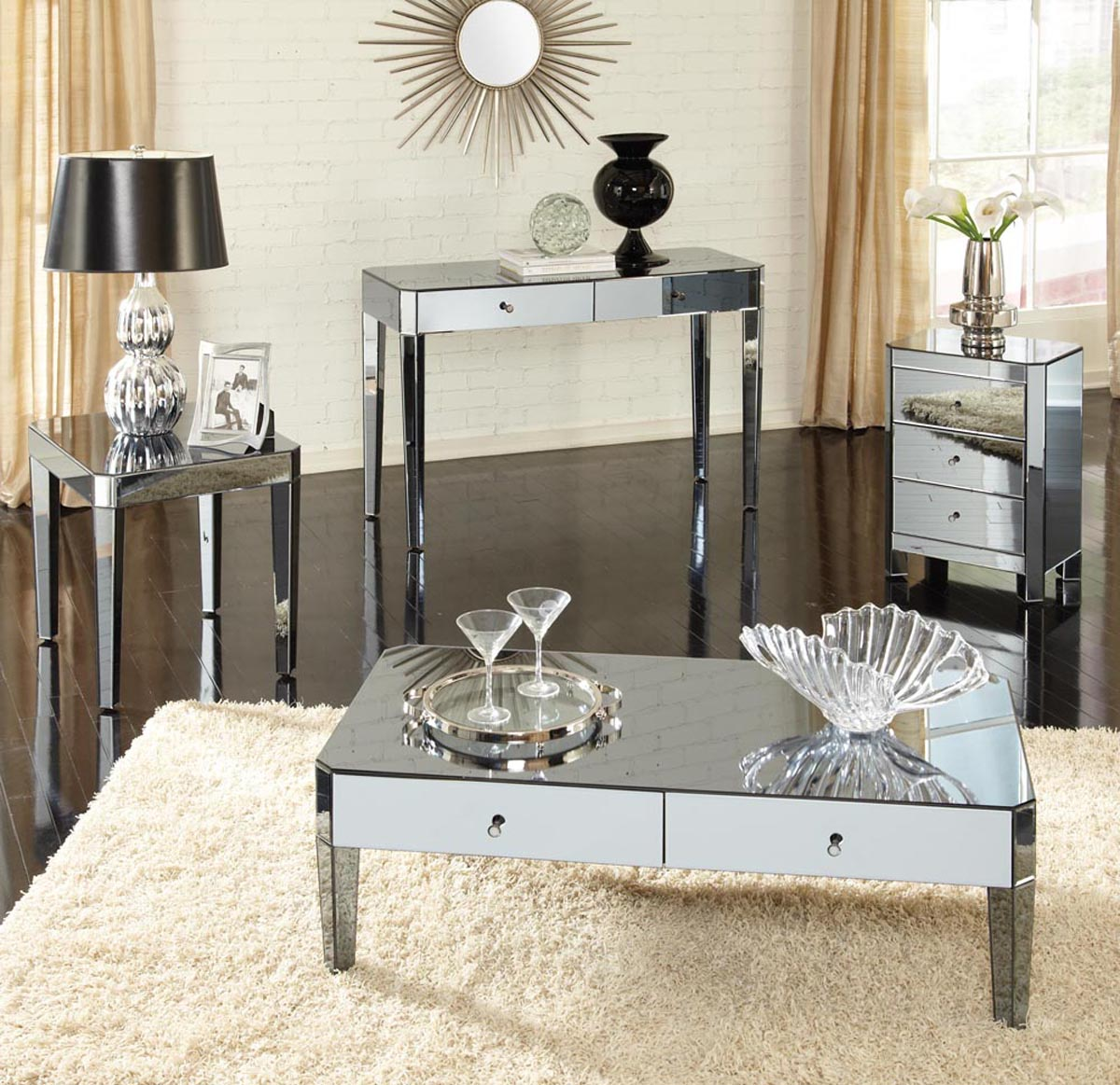 mirrored coffee table set 17