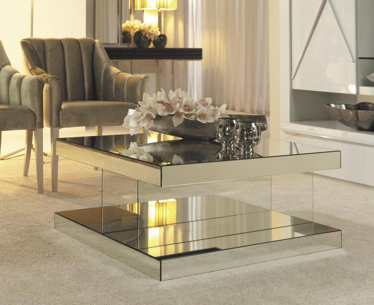 Mirrored Coffee Table Tray | Roy Home Design