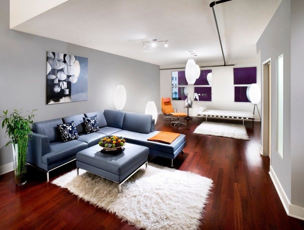 modern grey sectional sofa for living room lighting ideas