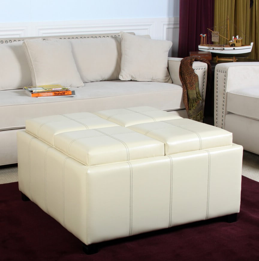 white leather ottoman coffee table furniture