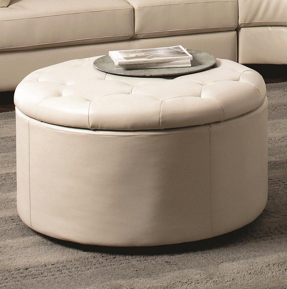 White Leather Ottoman Coffee Table Furniture Roy Home Design