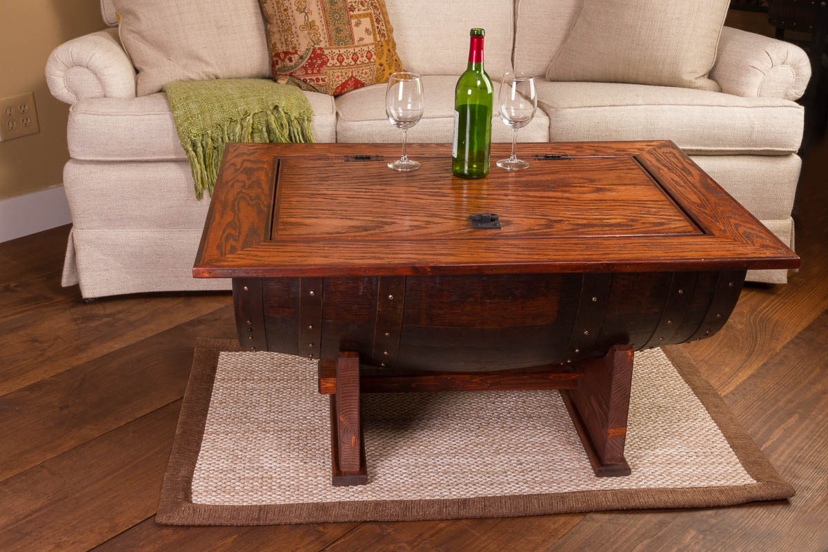 wooden barrel coffee table 10