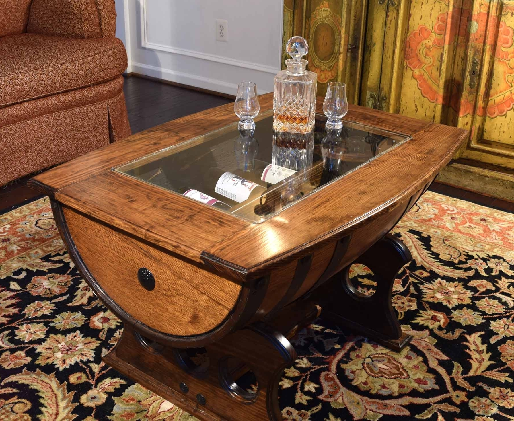 wooden barrel coffee table 11