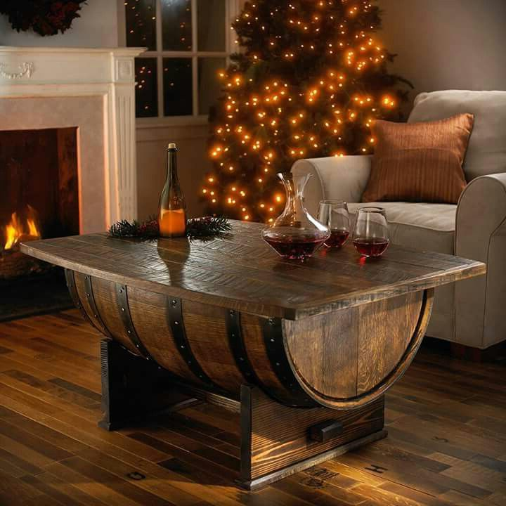 wooden barrel coffee table 21