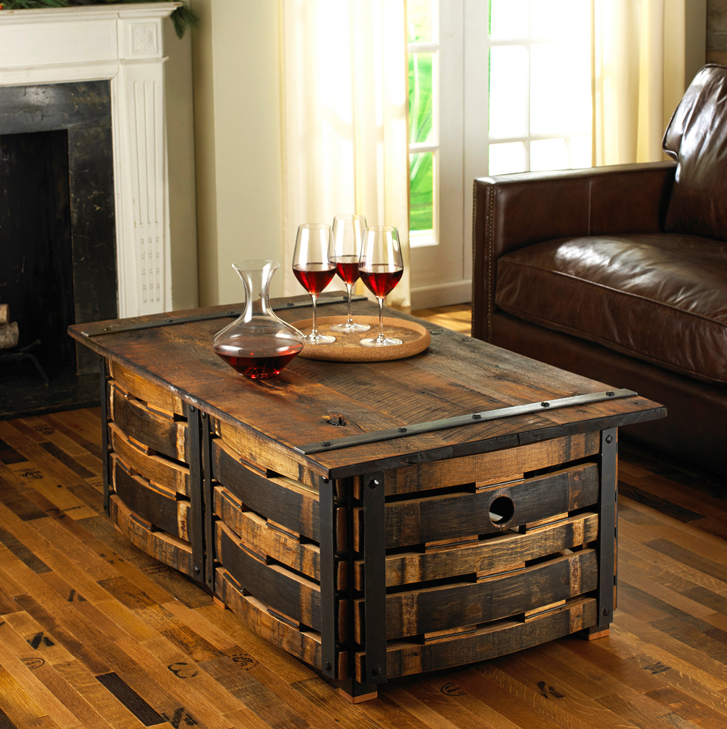 wooden barrel coffee table 22