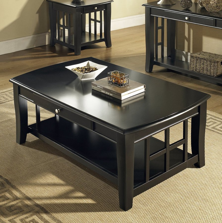 Black coffee and end table sets furniture roy home design Coffee and accent tables