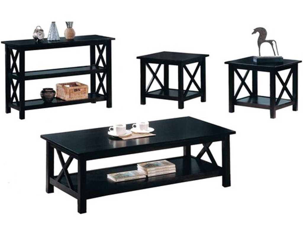 Black coffee and end table sets furniture roy home design Side table and coffee table set
