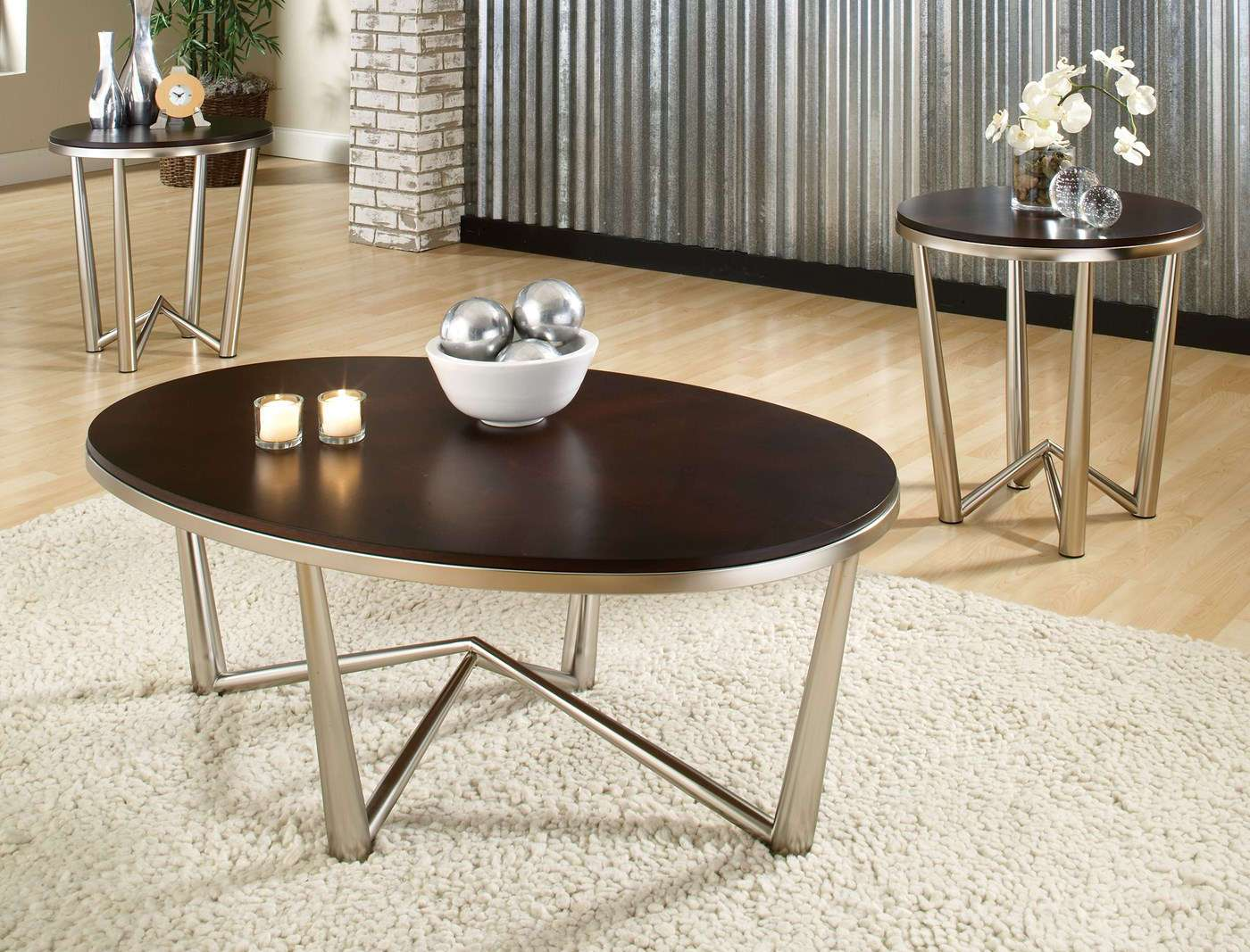 brushed nickel coffee table 16