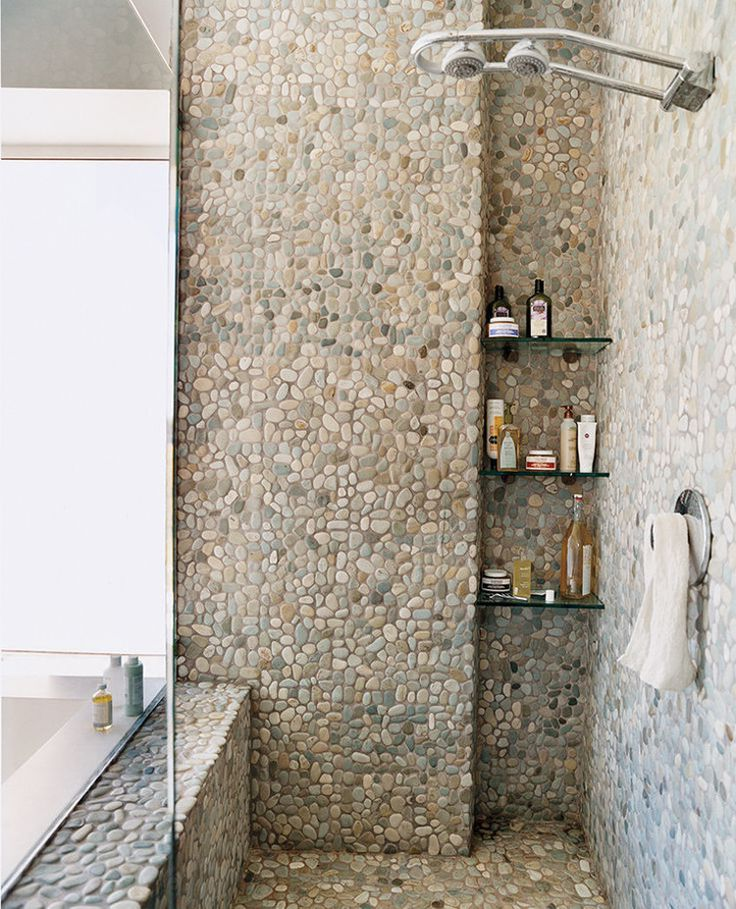 Riverstone shower floor in mid century style roy home design - Decoration salle de bain galet ...