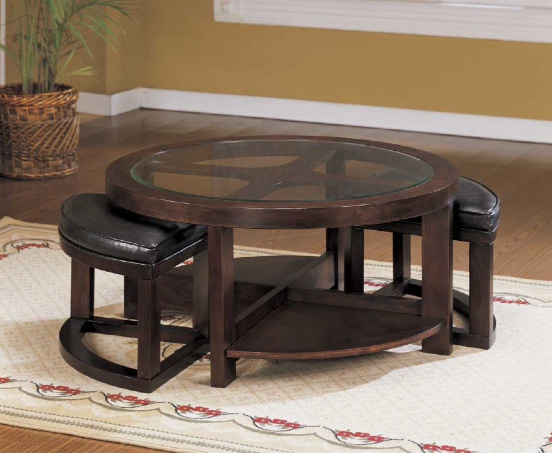 Round coffee table with seats underneath roy home design for Coffee table with stools underneath