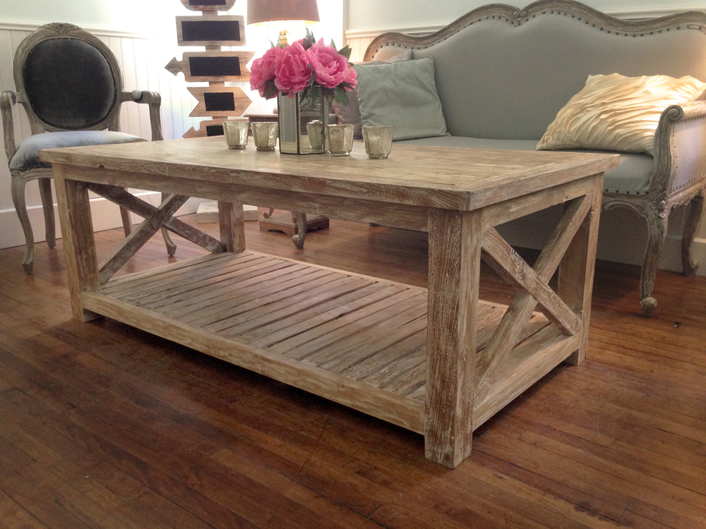 White Washed Wood Coffee Table Furniture