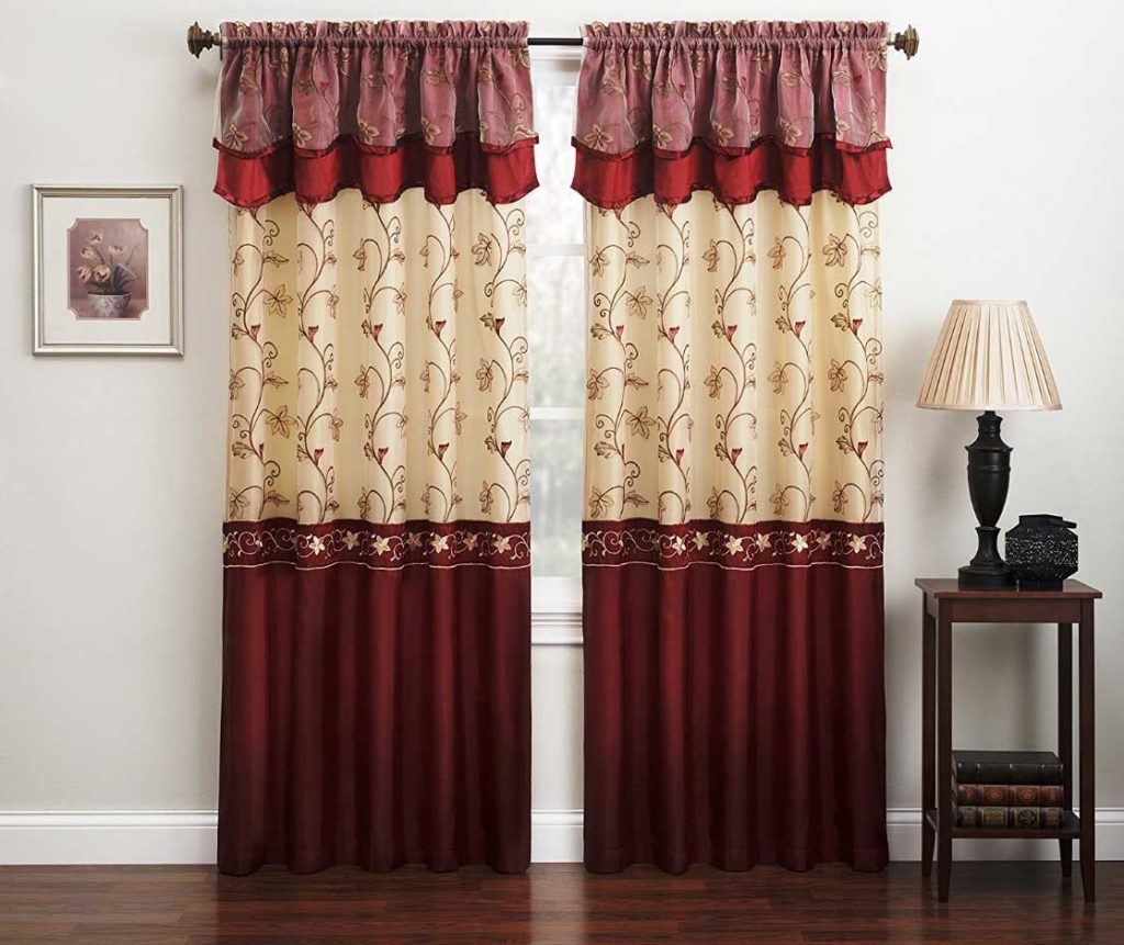Burgundy curtains for living room roy home design for Curtains for a small living room