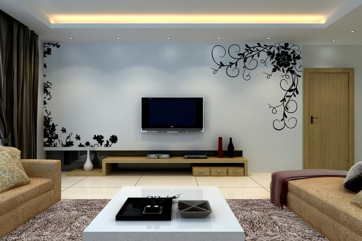 Elegnant Living Room With Tv