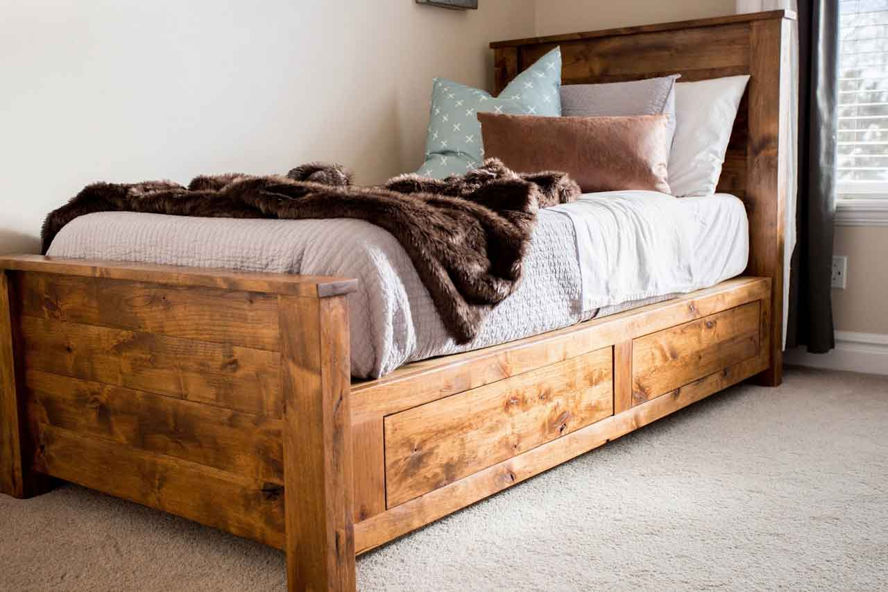 Get to Know How to Build Easy DIY Twin Bed Frame with Storages | Roy Home Design