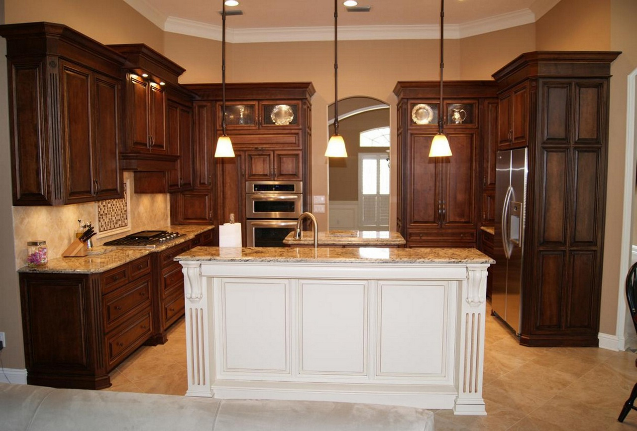 Espresso-Kitchen-Cabinets-with-White-Island-Designs-maple espresso cabinets