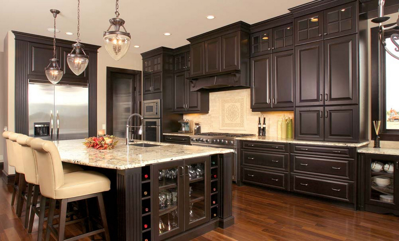 Espresso-Kitchen-Cabinets-with-white-island-mixed-upholstered-bar-stools-high-durability-espresso-kitchen-cabinets-with-white-island-come-elegance