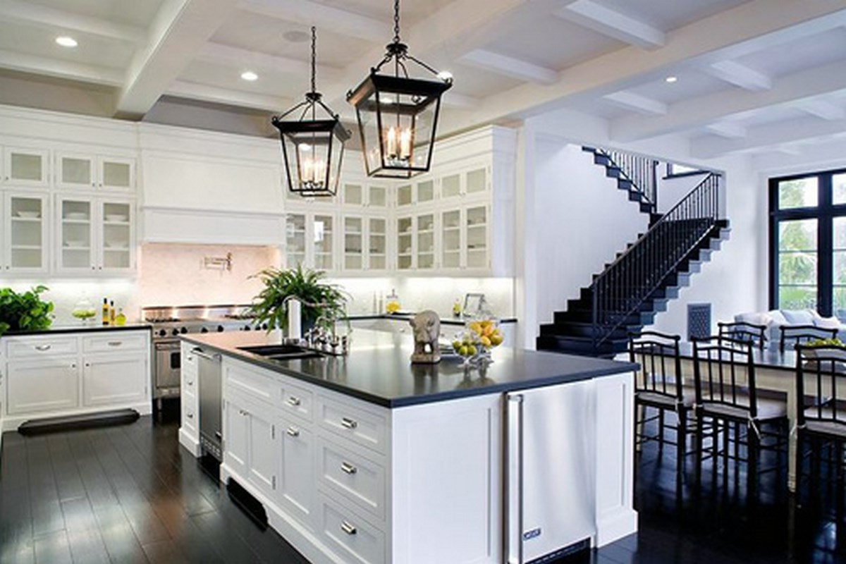 Kitchen Remodels With White Cabinets Ideas with Black Countertops