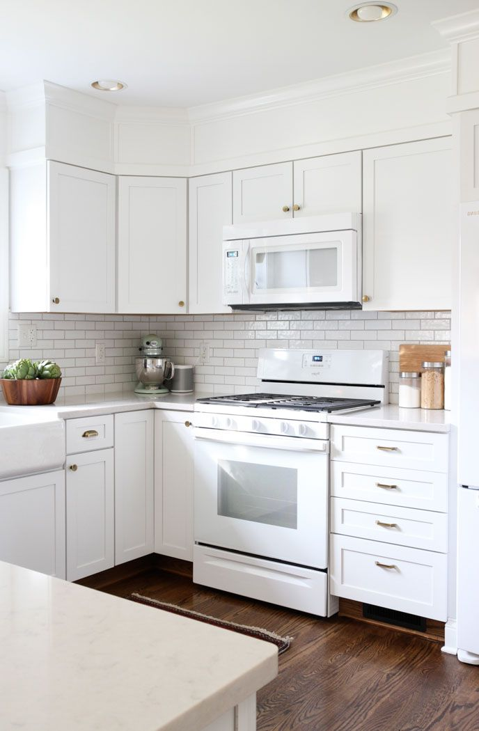 Kitchen Remodels With White Cabinets for Small Kitchen Design with Wood Floor