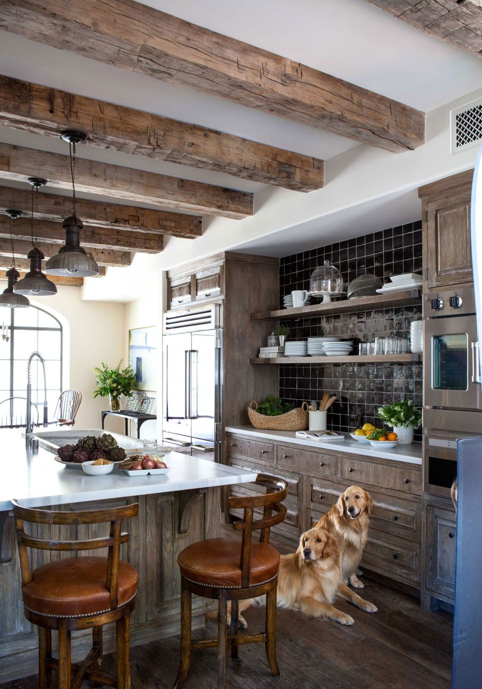 Older Home Kitchen Remodeling Ideas with Wood Beam Ceiling