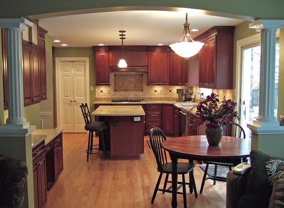 Older Home Kitchen Remodeling Ideas with Wood Floor and Oak Wood Cabinet