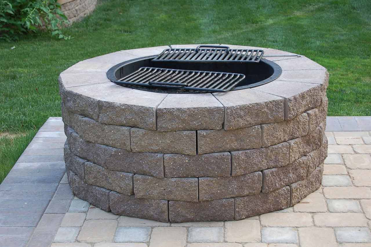 round patio kit with fire pit-perfect-collection-Fire-Pit-Cooking-Grates-Large-round-shape-brick