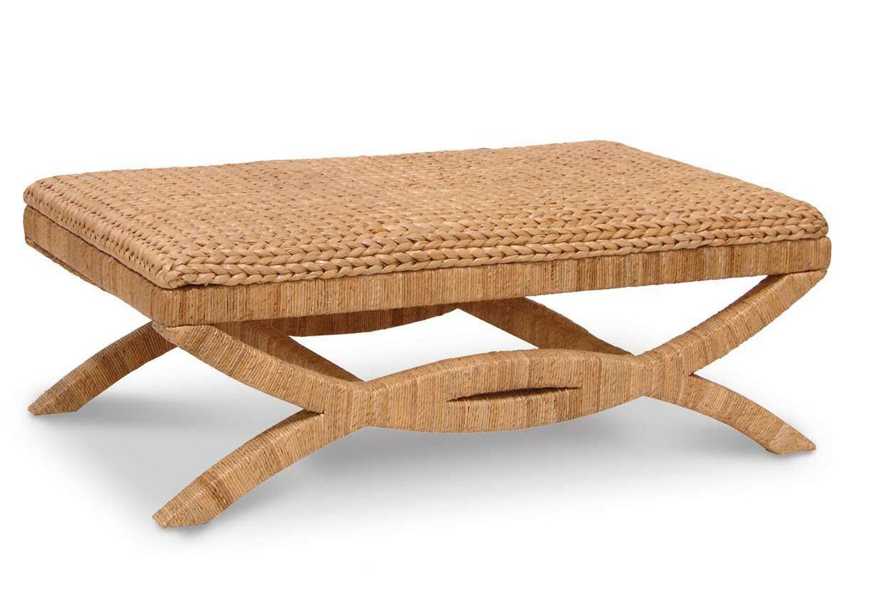 seagrass coffee table ottoman-rectangle-sea-grass-coffee-table-with-artful-base-and-legs-design