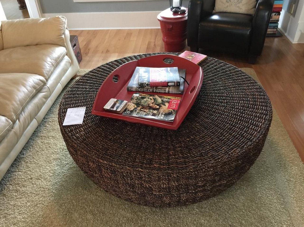 seagrass furniture-seagrass coffee table round