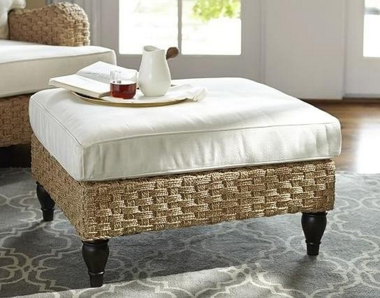 seagrass ottoman-round-seagrass-coffee-table