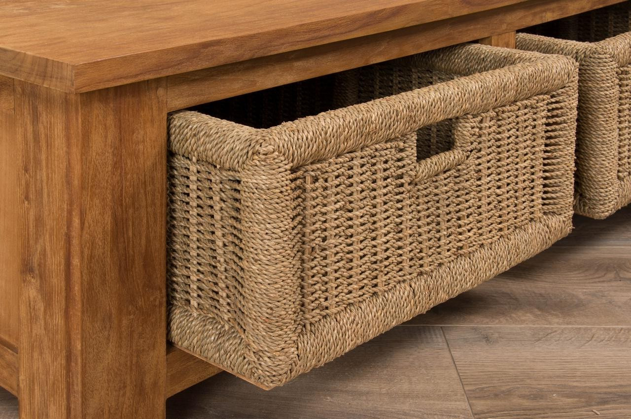Seagrass Storage  Ottoman Reclaimed_teak_coffee_table_with_seagrass_drawers_corner_detail_ |  Roy Home Design