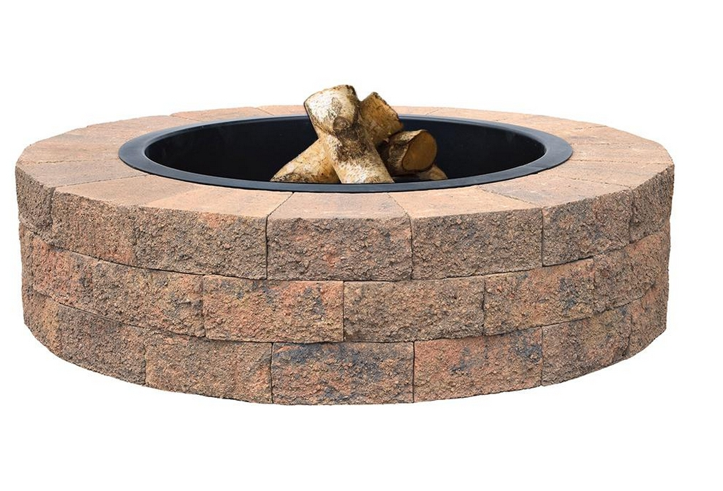 tan-oldcastle-fire-pit-kits-wood burning stone fire pit kit-round patio kit with fire pit