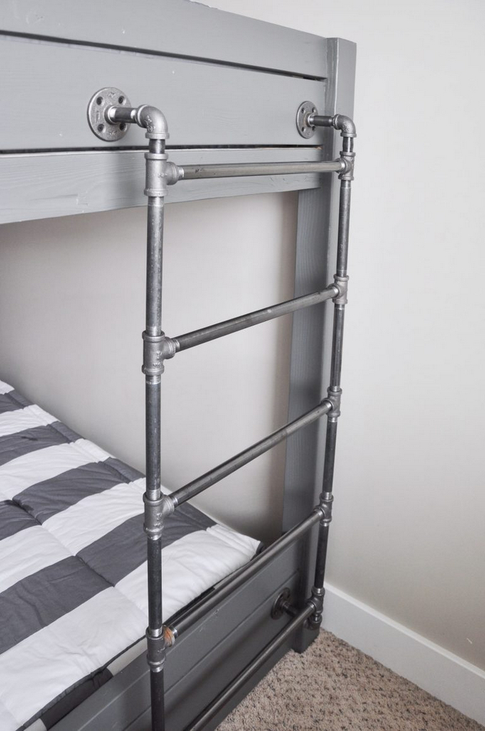 Industrial-Bunk-Bed-Free-Plans-standard twin mattress size-twin beds for boys