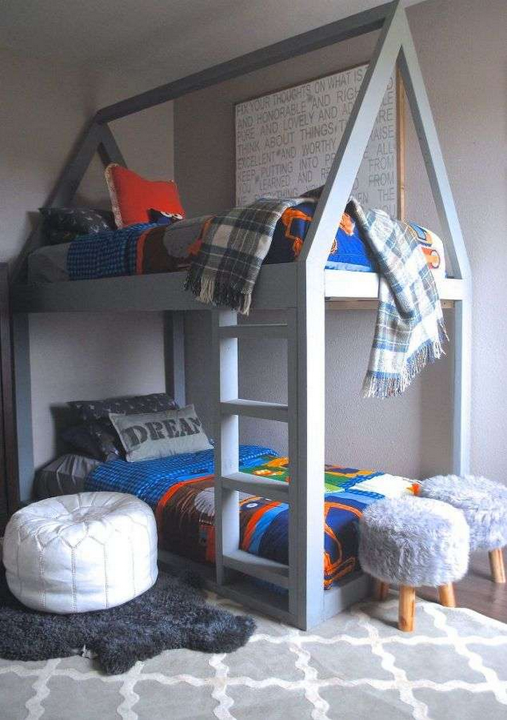 twin bunk beds for kids-build-a-house-bunk-bed-bedroom-ideas-diy-how-to-kids twin bed