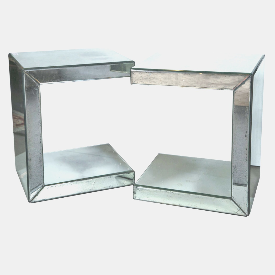 c side table | Pair of Hollywood Regency Style C-Shaped Mirrored End Tables For ..