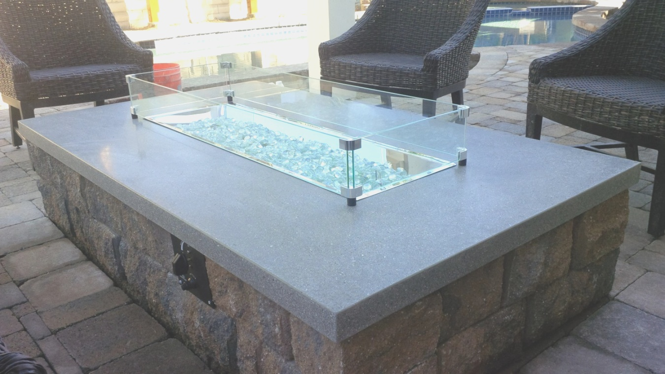 fire pit glass | Platinum Counters Blue Glass Fire Pit | Ship Design | fire pit glass